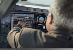 Touchscreen cockpit display in A350 XWB