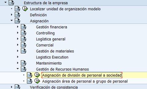 Configuración HCM SAP : Asignación de División de Personal a Sociedad