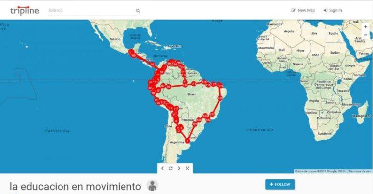 """Los viajeros compartieron su recorrido en este <a href=""""https://www.tripline.net/trip/la_educacion_en_movimiento-70242077617310118462DEDB0AF237B3"""" target=""""_blank"""" rel=""""noopener"""">mapa interactivo</a>. Foto compartida públicamente en <a href=""""https://www.facebook.com/1627104954176317/photos/a.1698871716999640.1073741831.1627104954176317/2002691966617612/?type=3&theater"""" target=""""_blank"""" rel=""""noopener"""">Facebook</a>."""