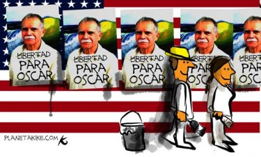 "By Kike Estrada. [""Freedom for Oscar""] Image taken from <a href=""http://planetakike.com/dibujos/467-el-pasquin-en-la-pared-libertad-para-oscar."""
