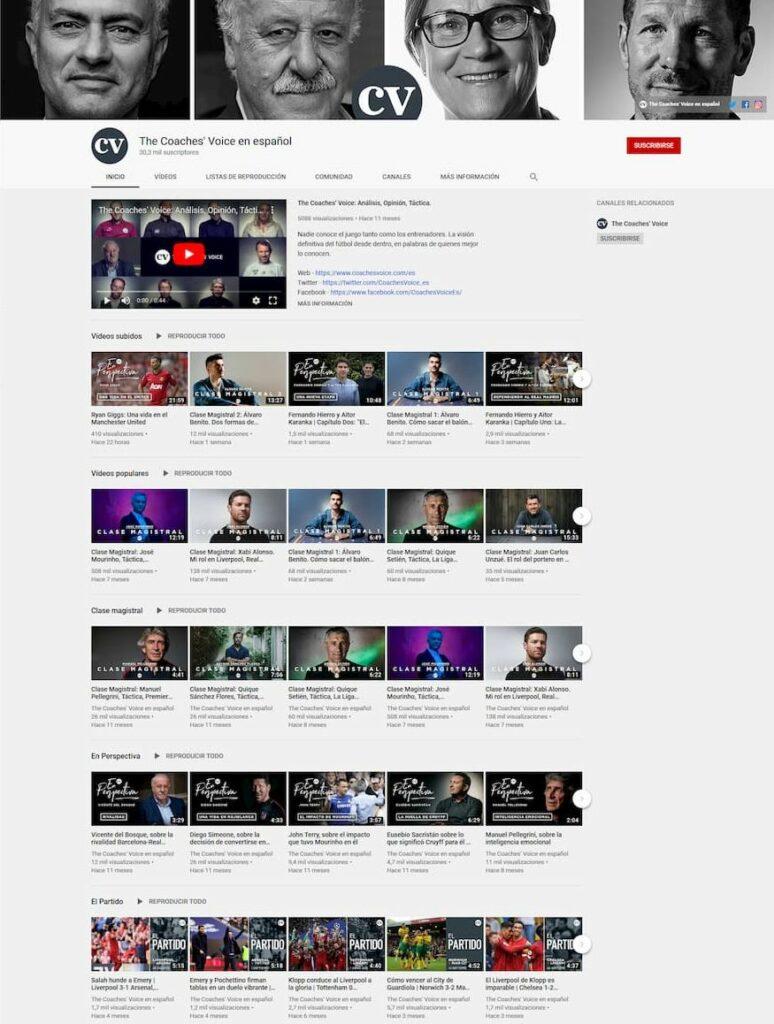 Imagen del canal de YouTube de The Coaches Voice, como idea de ver un thumbnail que es clave para una web