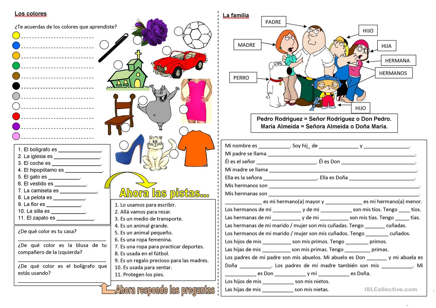 Family Worksheet Isl