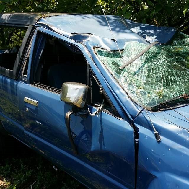 La camioneta de mi cliente después del choque