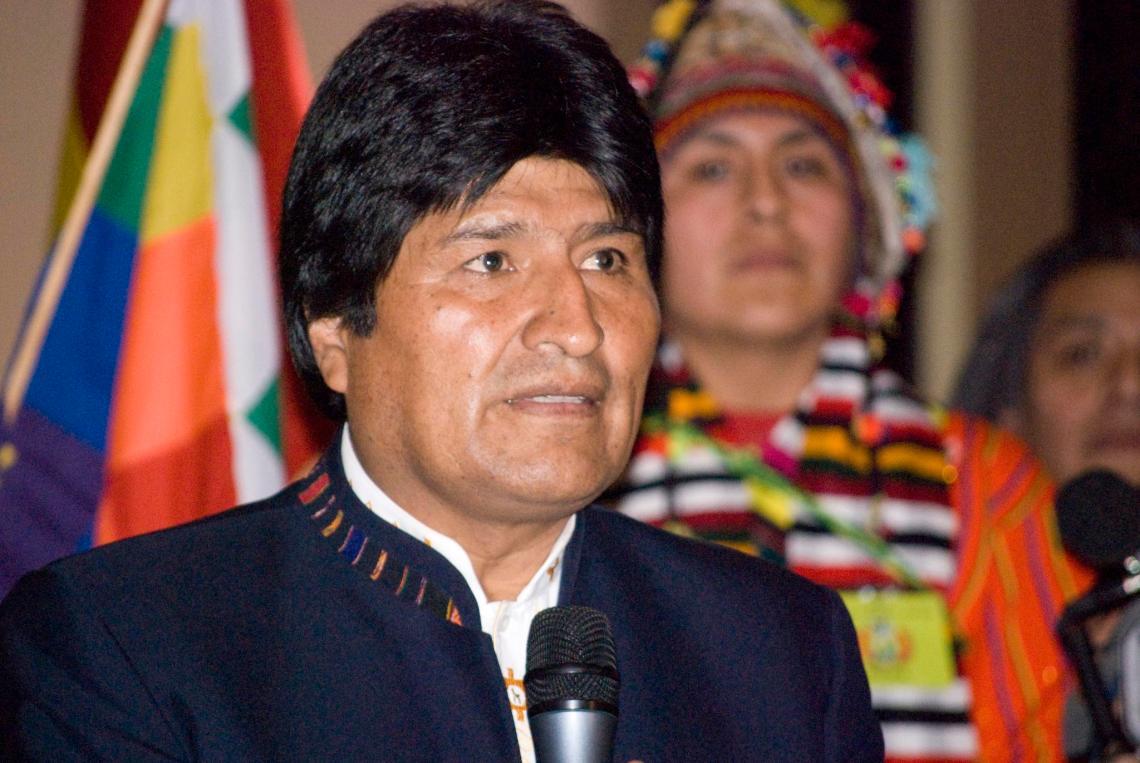 Evo Morales auf der Akademie der bildenden Künste in Wien