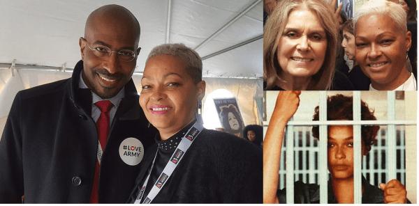 Donna Hilton posando junto al asesor de Obama, Van Jones, con la ícono feminista Gloria Steinhem y tras las rejas por asesinato. (FotoMontaje)
