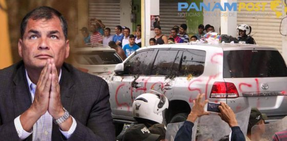 Protestas contra Correa se vuelven cotidianas: pintan su vehículo con aerosol y le lanzan basura