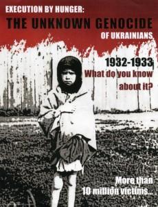 """Un afiche recuerda el 80 aniversario del Holomodor, """"lel hambre"""", entre 1932 y 1933 en Ucrania (Shimerli)"""