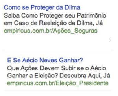 Ejemplos de publicaciones de Empiricus en Google.