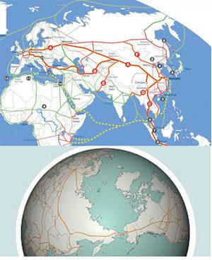 belt road china world map