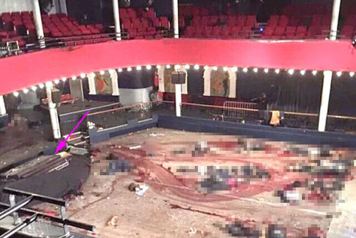 Allege photograph of the Bataclan right after the attack