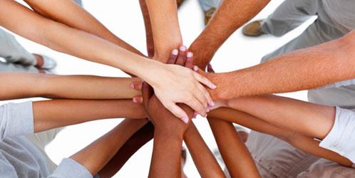 confianza-lealtad-audiencia, unión, manos
