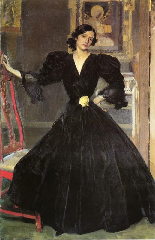 Clotilde En A Vestido Negro Oleo De Joaquin Sorolla Y
