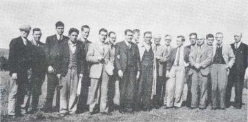 Bansha rural employees, 1948 (L-R): T Drennan; J Nolan; C Clune; M Whyte; J Dillon; T Costello, C O'Reilly; J Bergin; R Dowd; P Grace; J King (Alcan); B Lanigan; S Nolan; [unknown]; J Kelly; S Gibson; J Ware; and PG Collier.