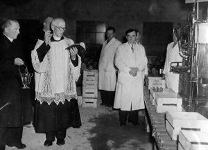 Very Rev. P. Norris blessing the new mineral water factory in Kilmessan December 1949