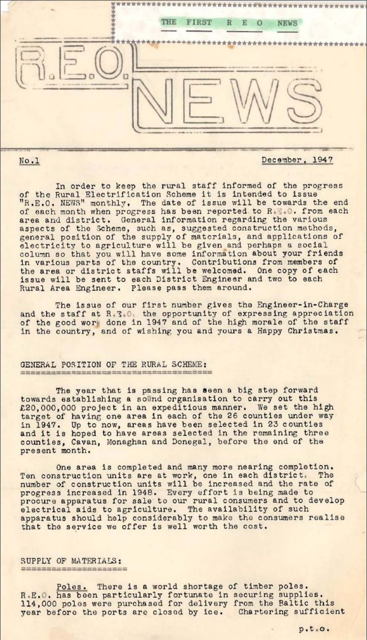 First issue of REO News, December 1947