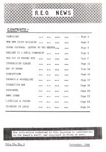 REO News, table of contents, September 1958