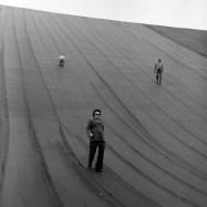visitors at the empty upper reservoir
