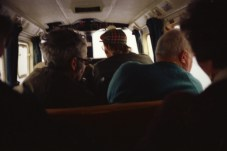 The crew flies out to the island on a very small plane