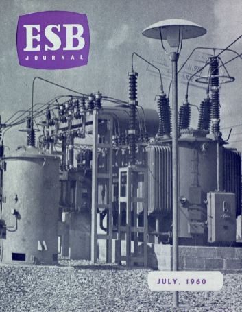 ESB Journal, July 1960. Photo: one of two ESB 110/10kv transformers feeding the oil refinery at Whitegate, taken by OH Bachmann of GEC.