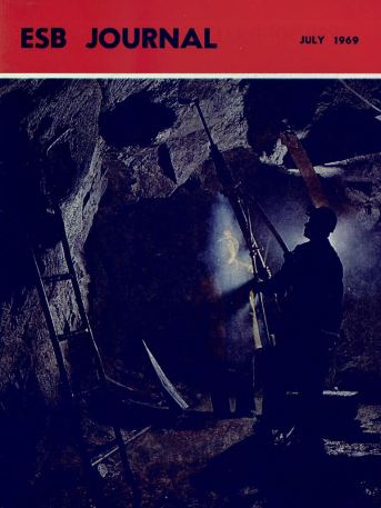 ESB Journal, July 1969. Photo: Drilling the exploratory tunnel at Turlough Hill, Co Wicklow.
