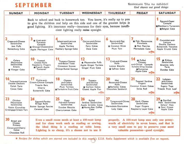 Calender 1962 September month