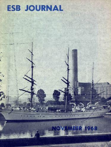 German training ship Gorsh Foch sailing past Marina station in Cork, ESB Journal, 1968
