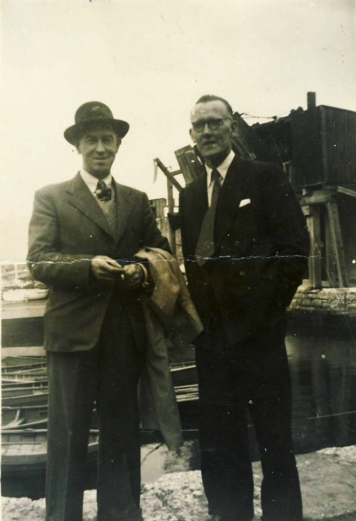 ESB employee Desmond Mulvany (left) at the harbour by Pigeon House station in 1946