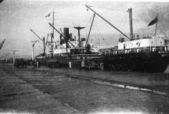 Transport of poles aboard the 'Wicklow Head', later wrecked off the coast of Nova Scotia in 1947