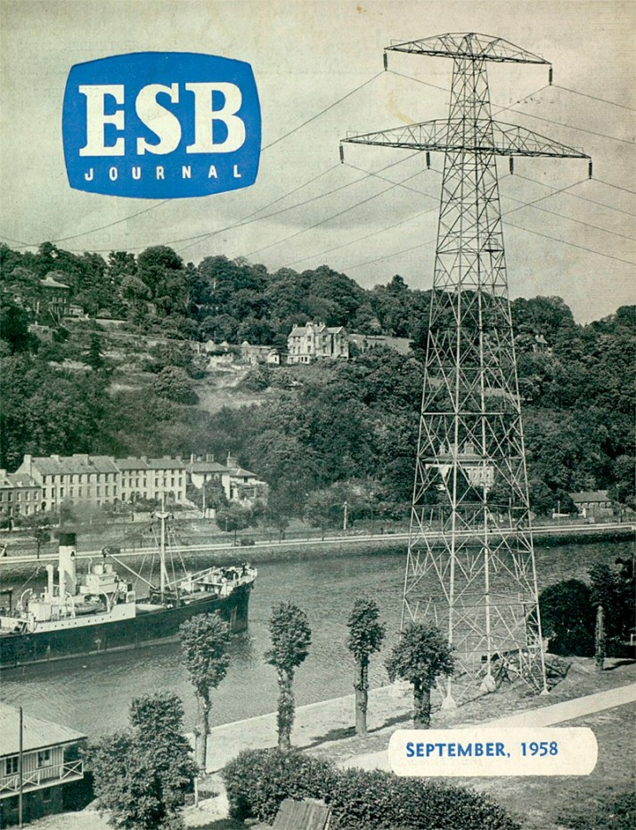 ESB 110 kV line crossing the River Lee at Marina Station, Cork.