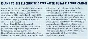 Coney Island to get Electricity 50 Years After Rural Electrification (Electric Mail article, December 1999)