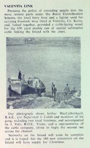 'Valentia Link' (ESB Journal November 1959)