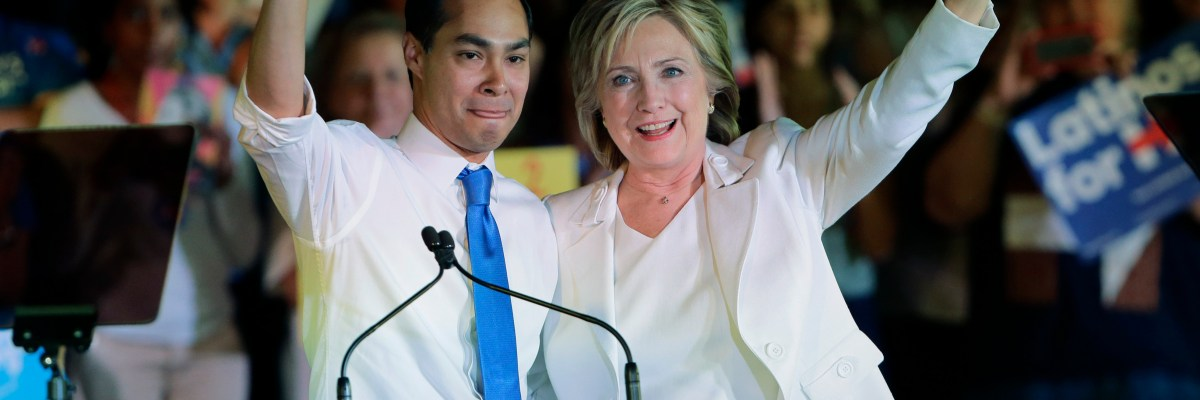 Democratic presidential candidate Hillary Rodham Clinton, right, with Housing and Urban Development Secretary Julian Castro, left, during a campaign event, Thursday, Oct. 15, 2015, in San Antonio. (AP Photo/Eric Gay)