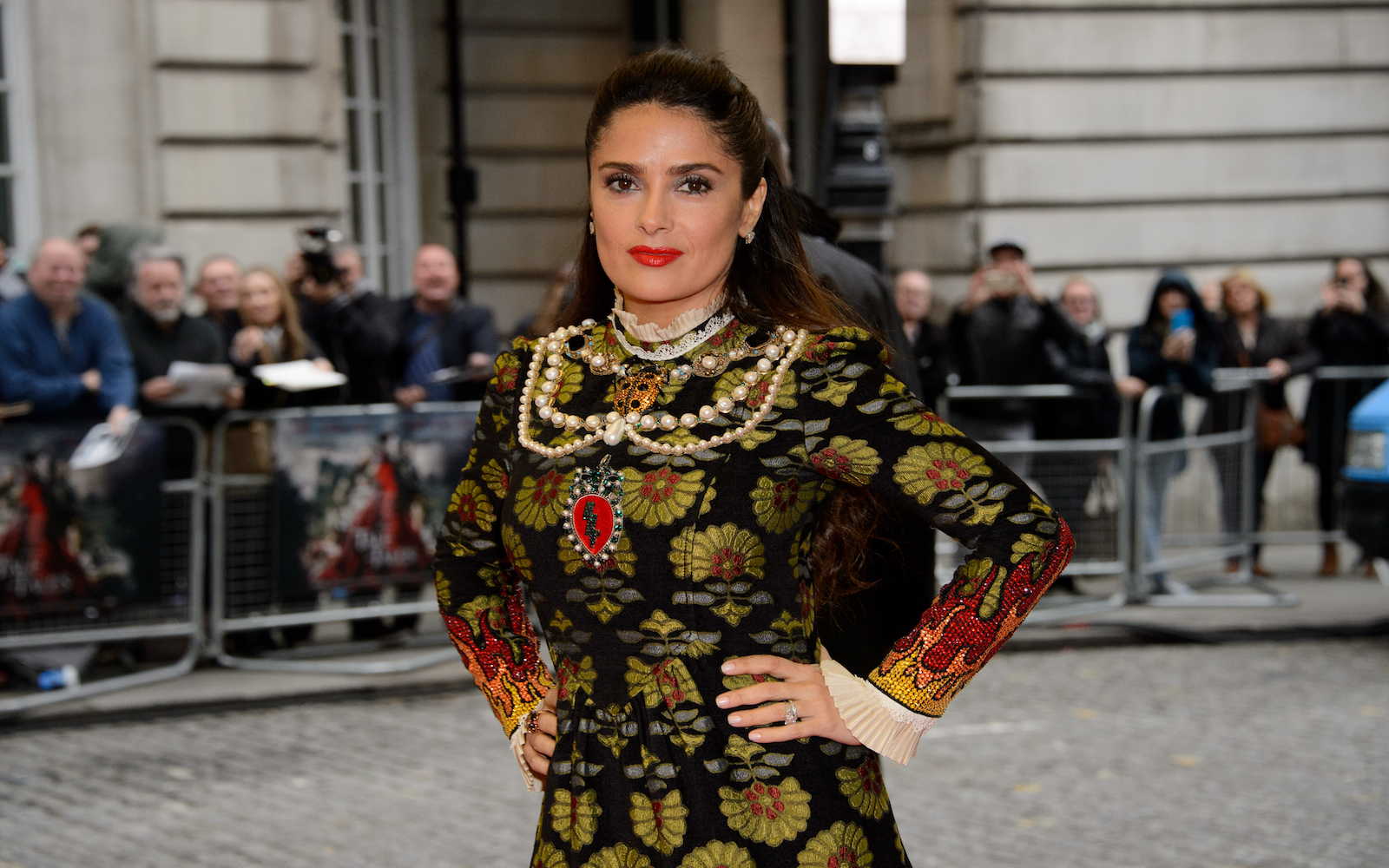 Salma Hayek poses for photographers upon arrival at the UK premiere of the film 'Tale Of Tales' at a central London cinema, London, Wednesday 1 June, 2016. (Photo by Jonathan Short/Invision/AP)