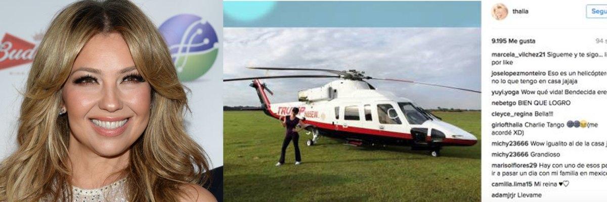 #LadyTrump: Reprueban mexicanos foto de Thalía en helicóptero de Donald Trump