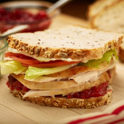 This Oct. 24, 2016 photo provided by The Culinary Institute of America shows Thanksgiving leftover turkey sandwiches in Hyde Park, N.Y. This dish is from a recipe by the CIA. (Phil Mansfield/The Culinary Institute of America via AP)