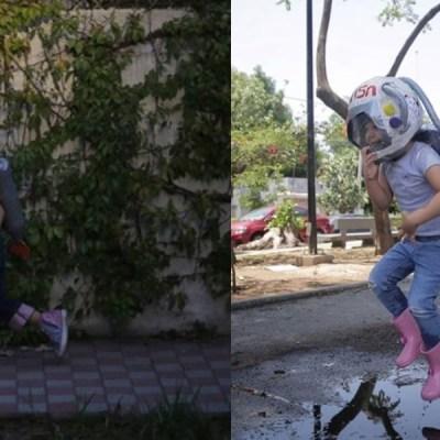 Niña mexicana se disfraza con traje de astronauta para no contagiarse de COVID-19