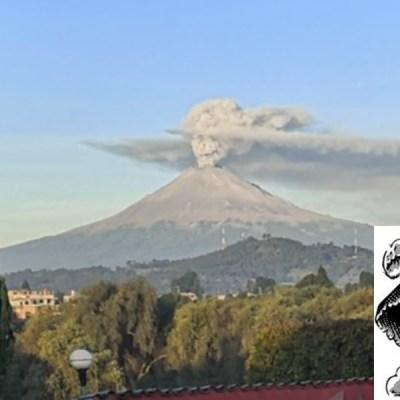 Captan fumarola del Popocatépetl que se asemeja a una Catrina