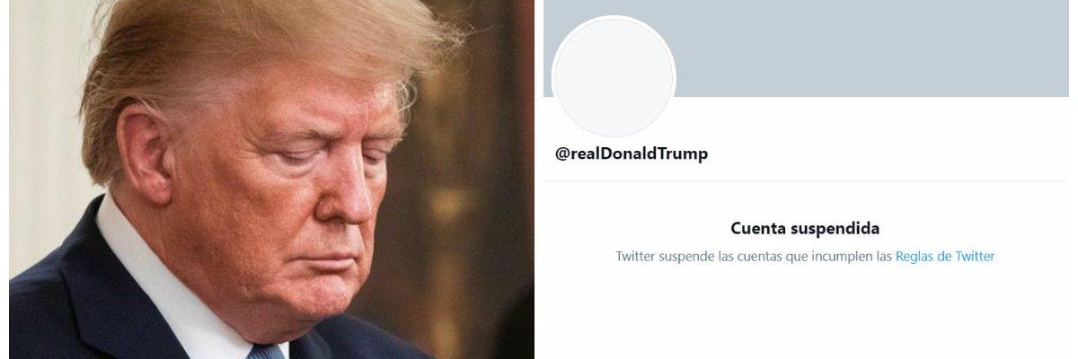 Twitter suspende de forma permanente la cuenta de Trump