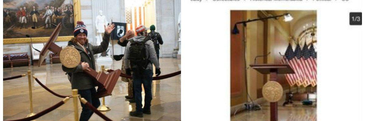 Subastan en Ebay el atril de Pelosi que se llevaron del Capitolio