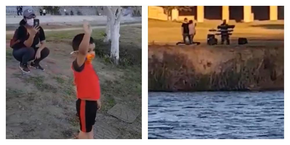 Abuelito le canta las mañanitas a su nieto desde el otro lado del Río Bravo