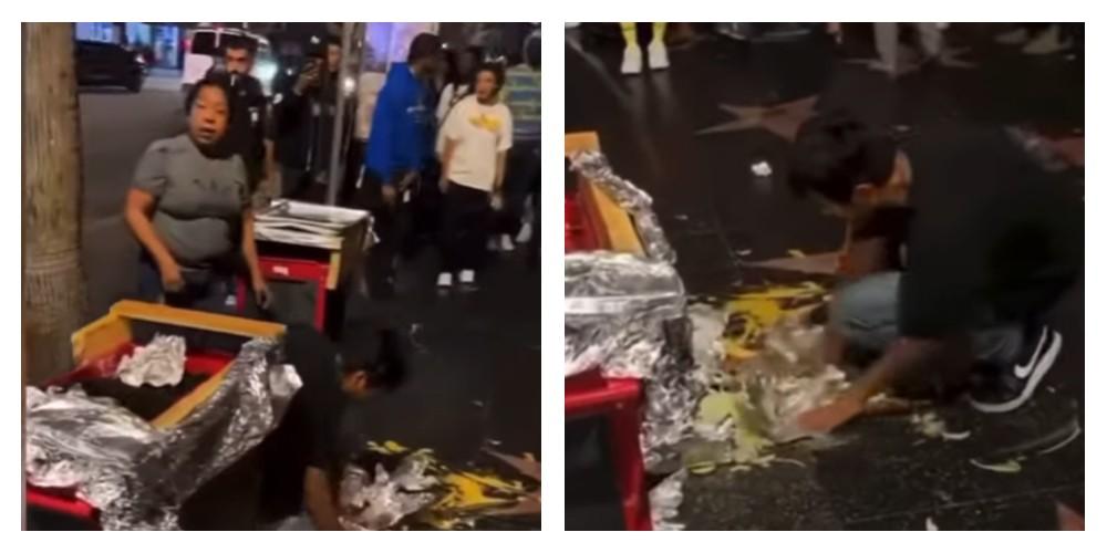 Le tiran su carrito de hot dogs a vendedora ambulante en Los Ángeles