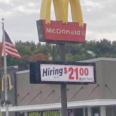 McDonald's paga hasta 21 dólares la hora por escasez de empleados