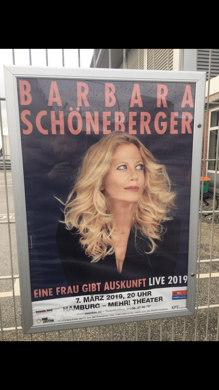 Barbara Schoeneberger in Hamburg Tourauftakt 2019 Plakat Mehr Theater Großmarkt Hamburg