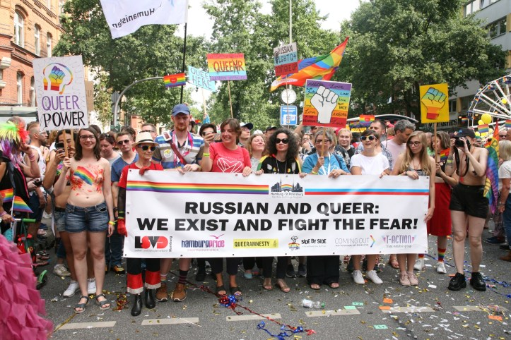 CSD HH 2019 mit ESC kompakt Dancefloor Parade Russian and queer we exist and fight the fear