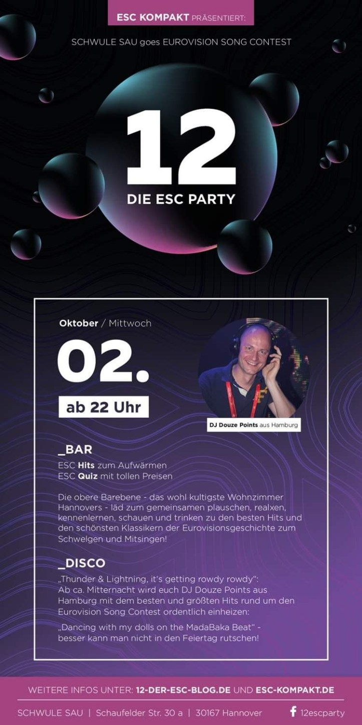 Flyer 12 Die ESC Party 2019