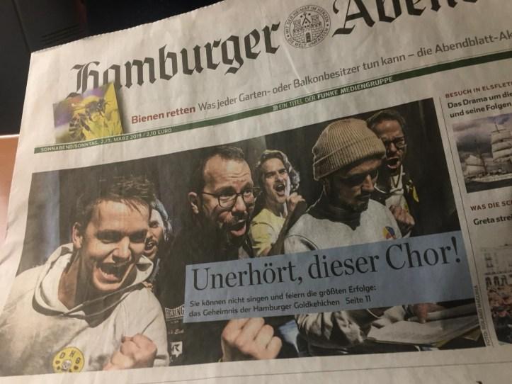 Hamburger Goldkehlchen auf dem Hamburger Abendblatt Cover