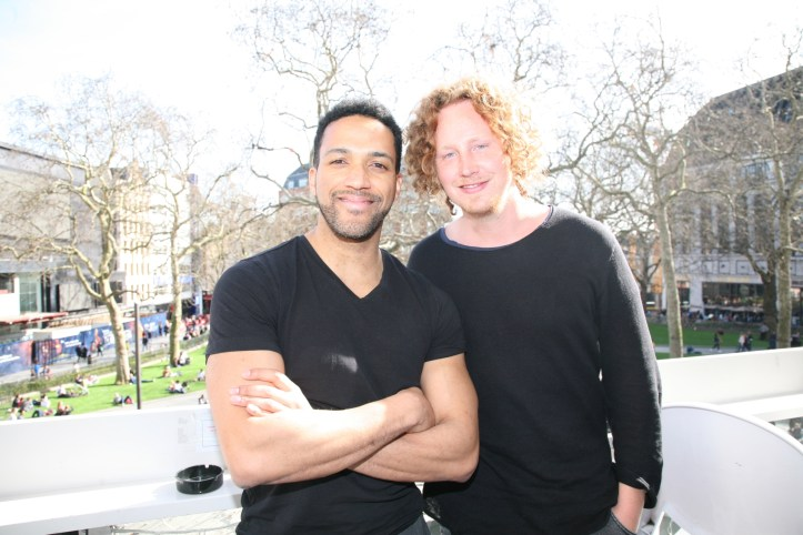 London EP18 Behind The Scenes Cesar Sampson with Michael Schulte above Leicester Square