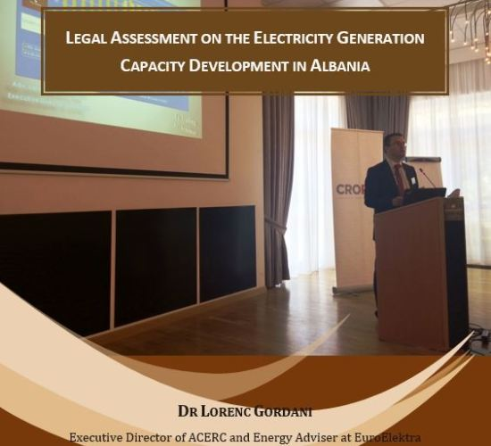 Report Release on Electricity Generation Capacity Development, Dr Lorenc Gordani 6th Oct. 2017