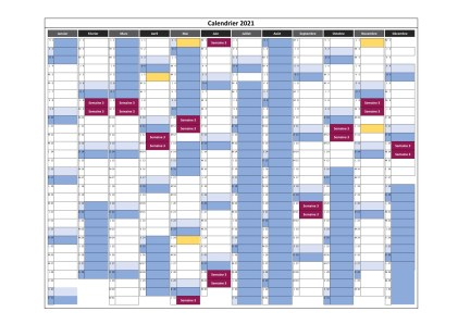 calendrier cours en semaine 3 pour 2021