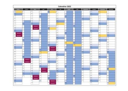 calendrier cours en semaine 3 pour 2022